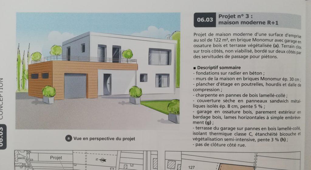 exemple de projet de construction de maison proposé dans le livre construire aménager et rénover une maison