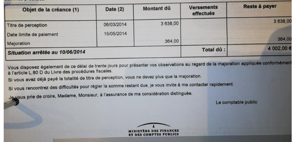 erreur montant taxe d'aménagement