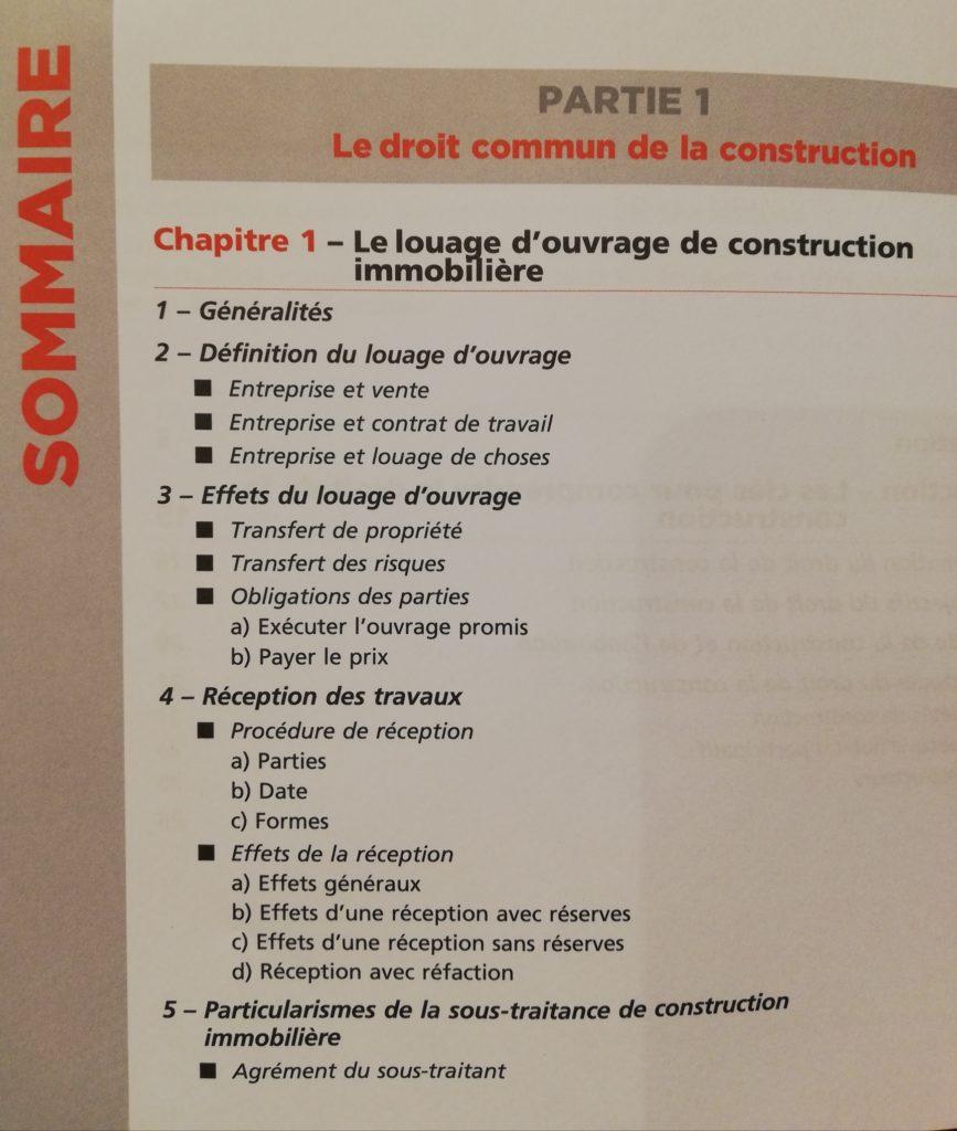 Sommaire du livre l'essentiel du droit de la construction