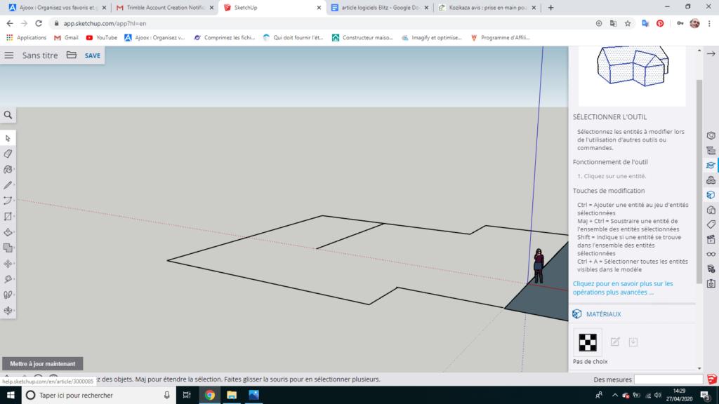 premier dessin avec le logiciel sketchup