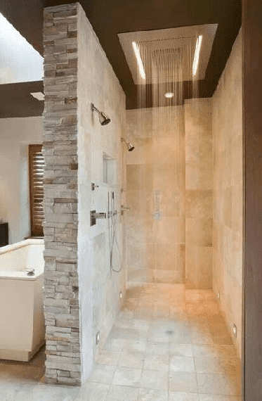 douche italienne en travertin