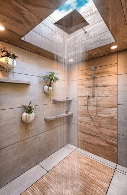 douche à l'italienne avec puit de lumière