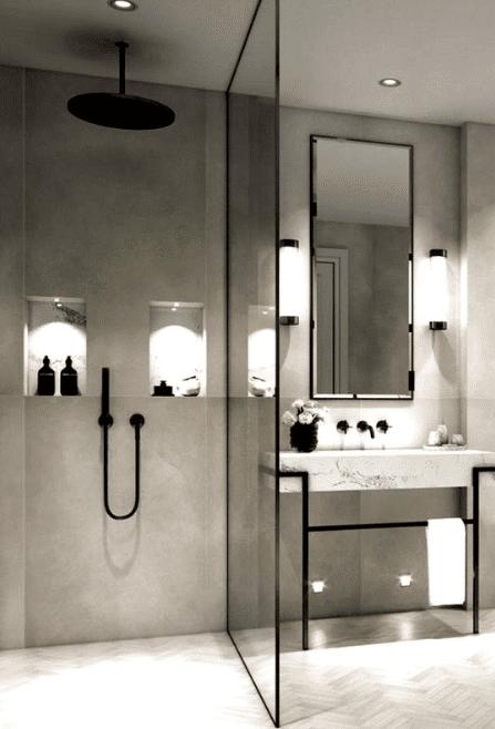 douche à l'italienne moderne noire