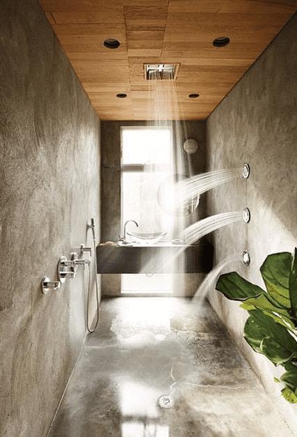 douche à l'italienne aspect béton sol et mur