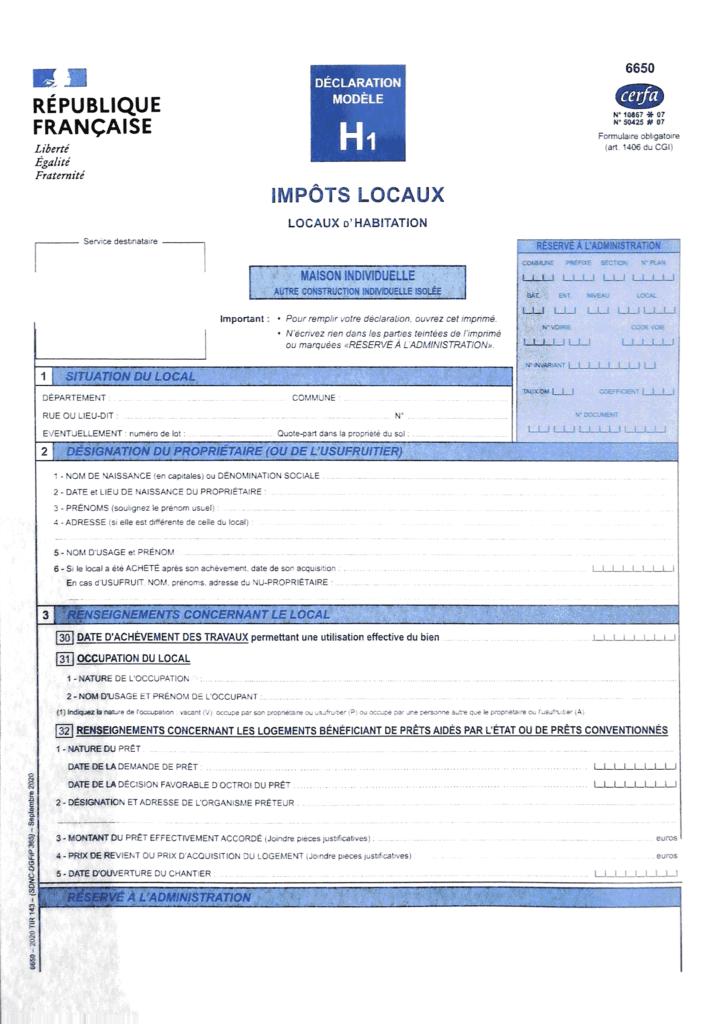Formulaire H1 page 1