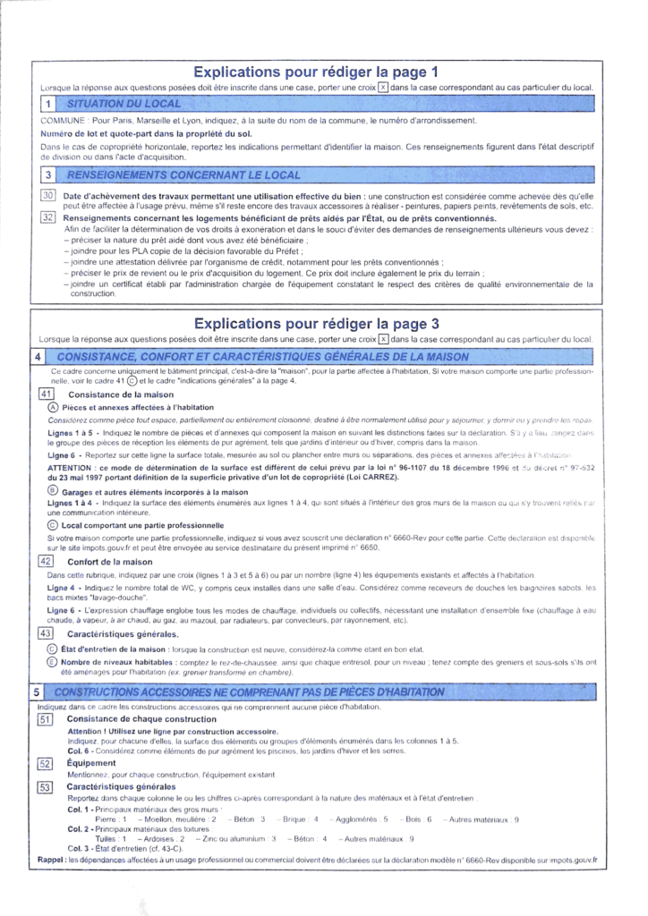Formulaire H1 page 2