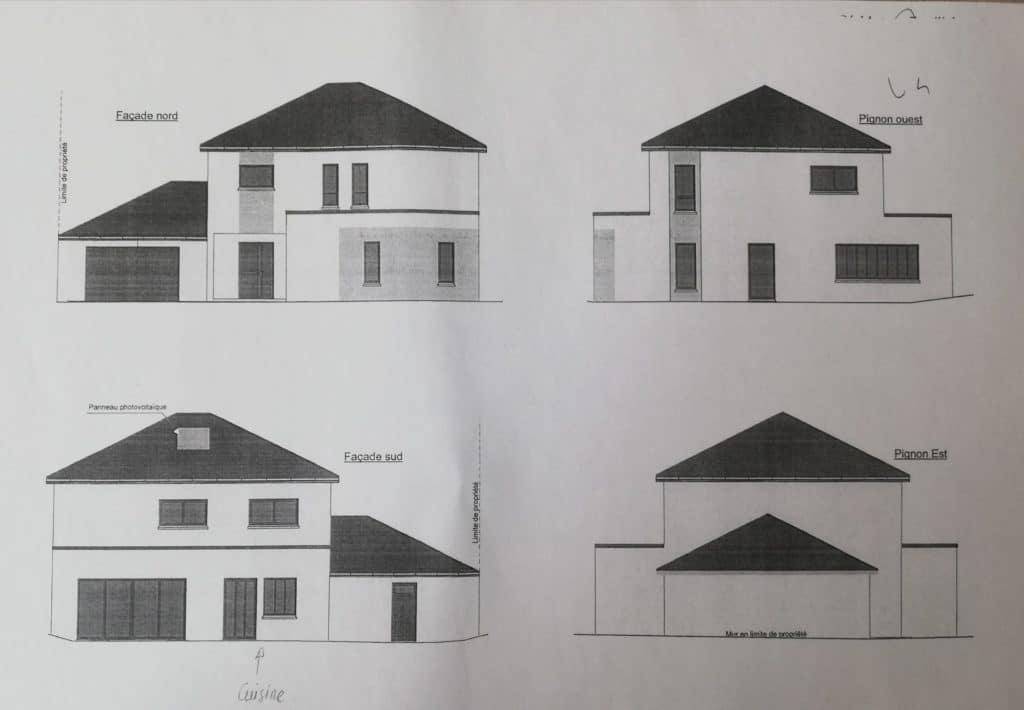 détails façades et pignons extérieures maison 180m2