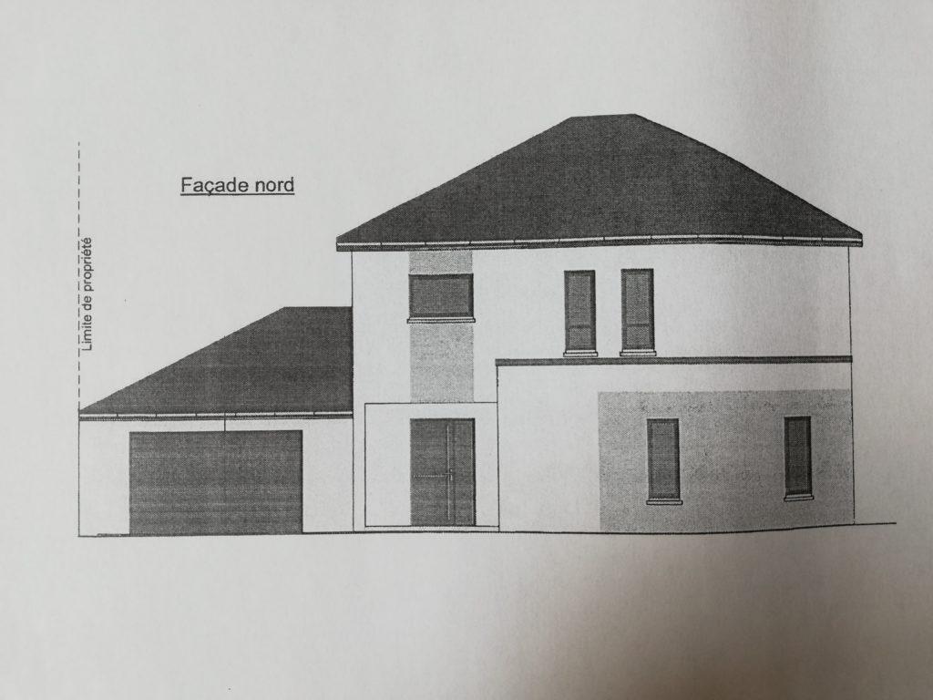 la façade nord de ce plan maison 180m2