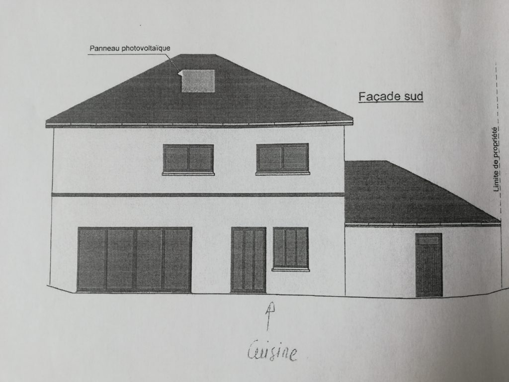 la façade sudde ce plan maison 180m2