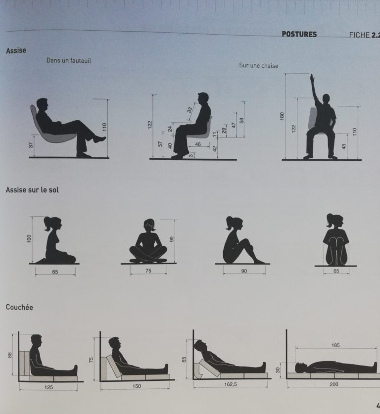 dimensions humaines selon les postures