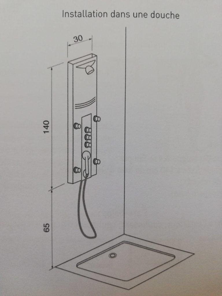 dimensions relatives à une douche